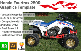 Honda Fourtrax 250R ATV Quad Graphics Template