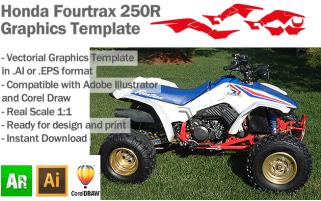 Honda Fourtrax 250R ATV Quad Graphics Template