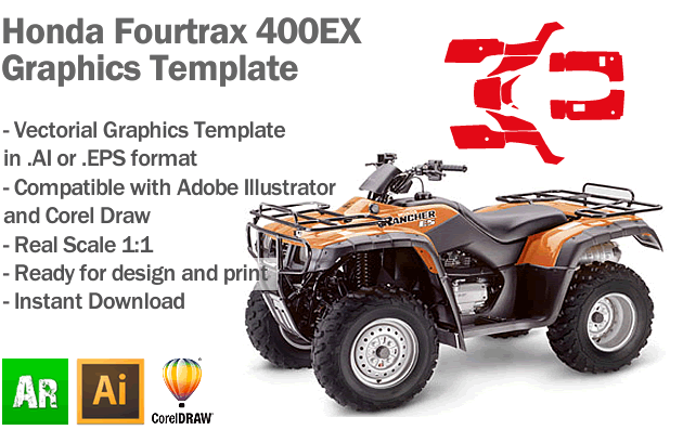 Honda Fourtrax 350ES ATV Quad Graphics Template