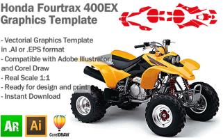 Honda Fourtrax 400EX ATV Quad Graphics Template