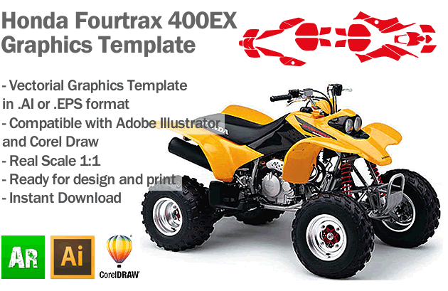 Honda Fourtrax 400EX ATV Quad Graphics Template