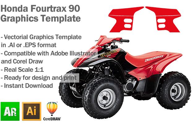 Honda Fourtrax 90 ATV Quad Graphics Template