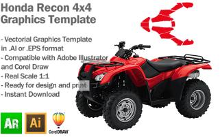 Honda Recon 4x4 ATV Quad Graphics Template