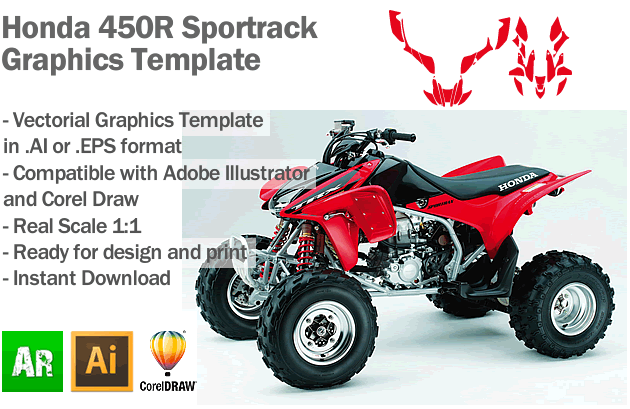 Honda Sportrack 450R ATV Quad Graphics Template