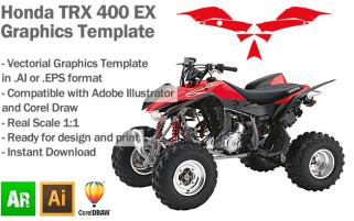 Honda TRX 400 EX ATV Quad 2008 2009 2010 2011 2012 Graphics Template