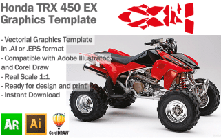 Honda TRX 450 EX ATV Quad Graphics Template