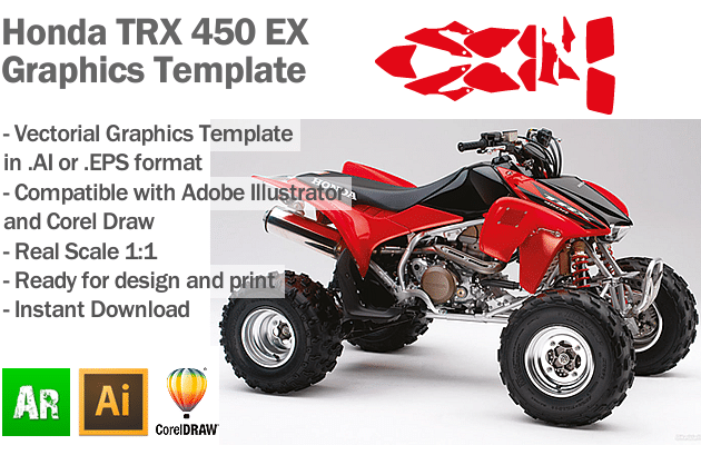Honda TRX 450 EX ATV Quad Graphics Template