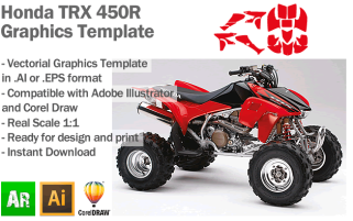 Honda TRX 450R ATV Quad 2005 2006 2007 2008 Graphics Template