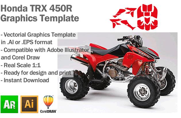 Honda TRX 450R ATV Quad 2005 2006 2007 2008 Graphics Template