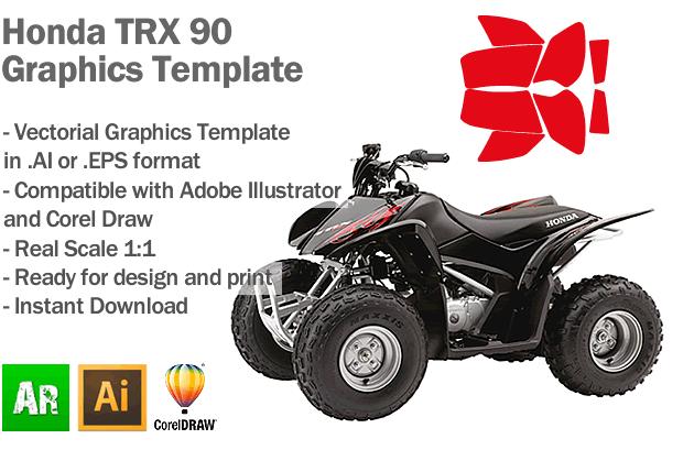 Honda TRX 90 ATV Quad Graphics Template