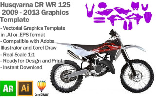 Husqvarna CR WR 125 Enduro MX Motocross 2009 2010 2011 2012 2013 Graphics Template