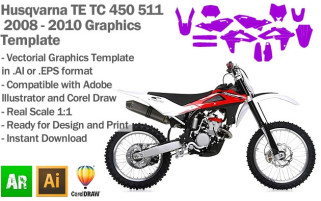 Husqvarna TE TC 450 511 Enduro MX Motocross 2008 2009 2010 Graphics Template
