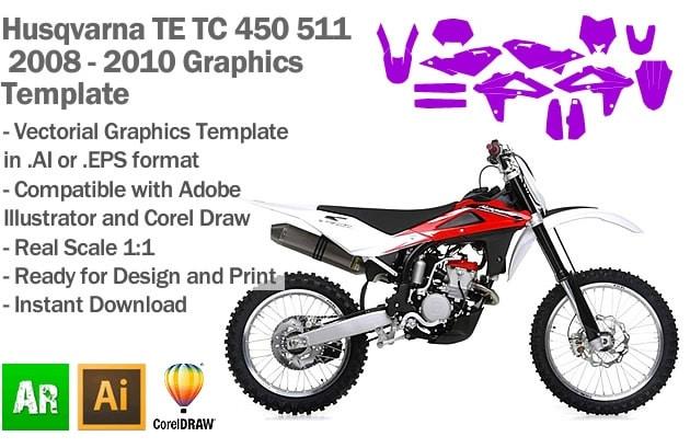 Husqvarna TE TC 450 511 Enduro MX Motocross 2008 2009 2010 Graphics Template