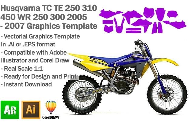 Husqvarna TC TE 250 310 450 WR 250 300 Enduro MX Motocross 2005 2006 2007 Graphics Template