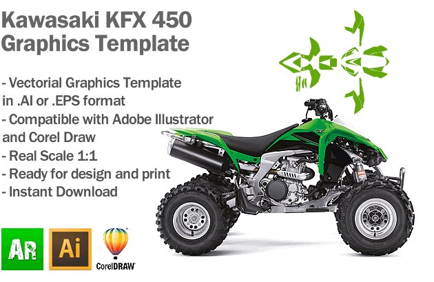 Kawasaki KFX 450 ATV Quad Graphics Template