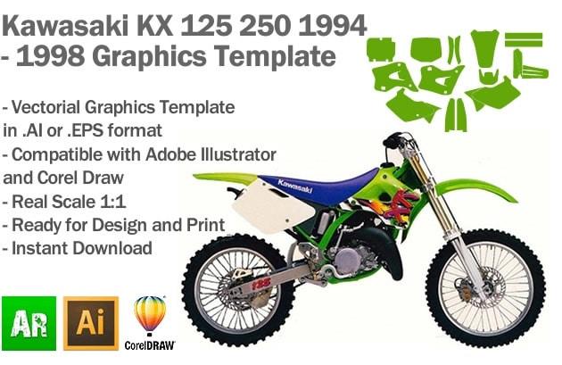 Kawasaki KX 125 250 MX Motocross 1994 1995 1996 1997 1998 Graphics Template