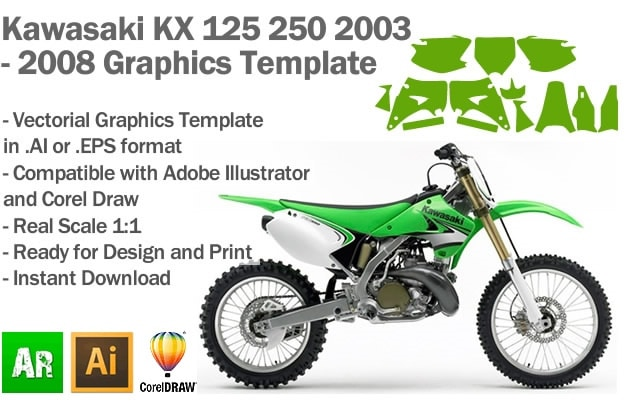 Kawasaki KX 125 250 MX Motocross 2003 2004 2005 2006 2007 2008 Graphics Template