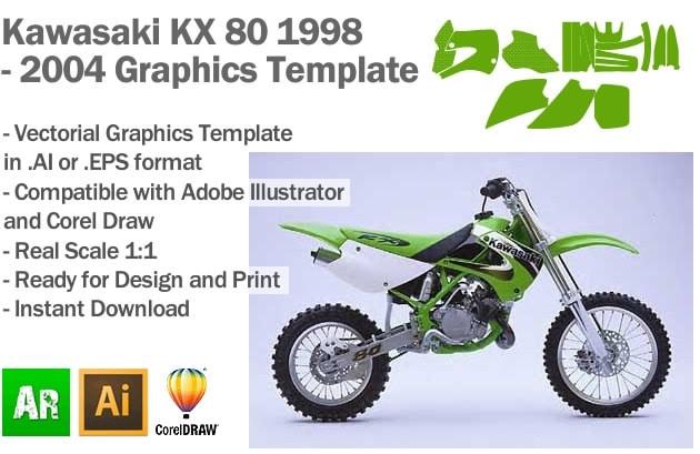 Kawasaki KX 80 MX Motocross 1998 1999 2000 2001 2002 2003 2004 Graphics Template