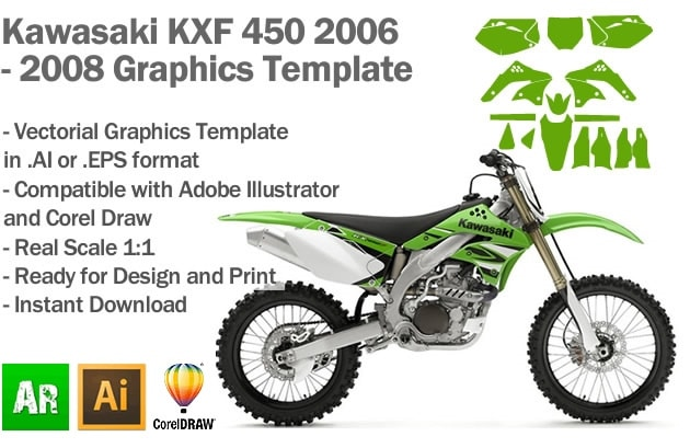 Kawasaki KXF 450 MX Motocross 2006 2007 2008 Graphics Template