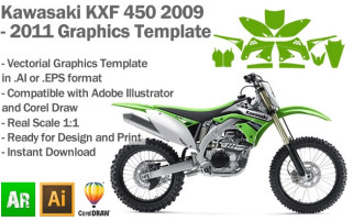 Kawasaki KXF 450 MX Motocross 2009 2010 2011 Graphics Template