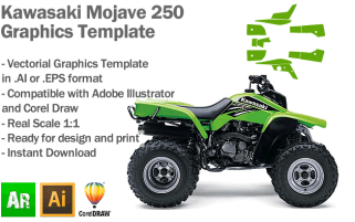 Kawasaki Mojave 250 ATV Quad Graphics Template