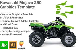 Kawasaki Mojave 250 ATV Quad Graphics Template