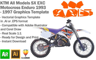 KTM SX EXC MX Enduro All Models 1993 1994 1995 1996 1997 Graphics Template
