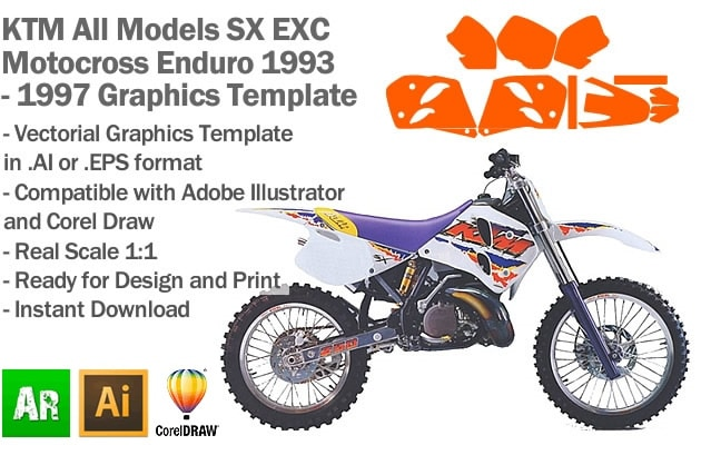 KTM SX EXC MX Enduro All Models 1993 1994 1995 1996 1997 Graphics Template