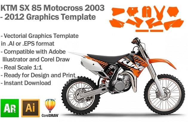 KTM SX 85 MX Motocross 2003 2004 2005 2006 2007 2008 2009 2010 2011 2012 Graphics Template