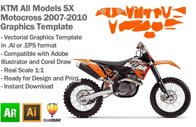KTM SX MX Motocross All Models 2007 2008 2009 2010 Graphics Template