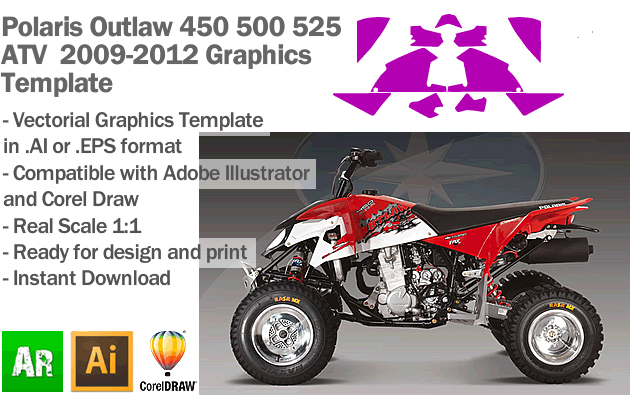 Polaris Outlaw 450 500 525 ATV Quad 2009 2010 2011 2012 Graphics Template