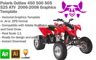 Polaris Outlaw 450 500 505 525 ATV Quad 2006 2007 2008 Graphics Template