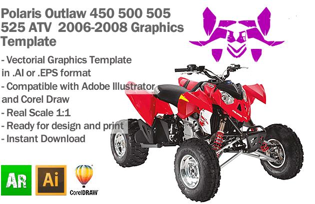 Polaris Outlaw 450 500 505 525 ATV Quad 2006 2007 2008 Graphics Template