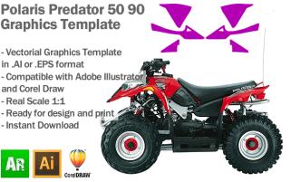 Polaris Predator 50 90 ATV Quad Graphics Template