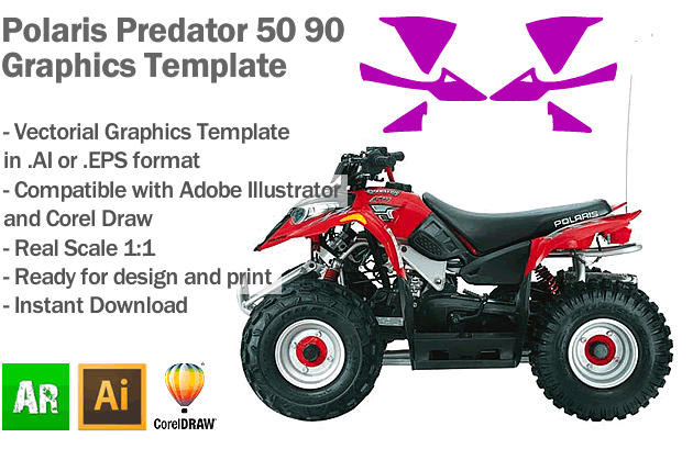 Polaris Predator 50 90 ATV Quad Graphics Template