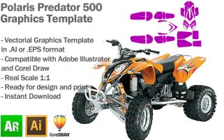 Polaris Predator 500 ATV Quad Graphics Template
