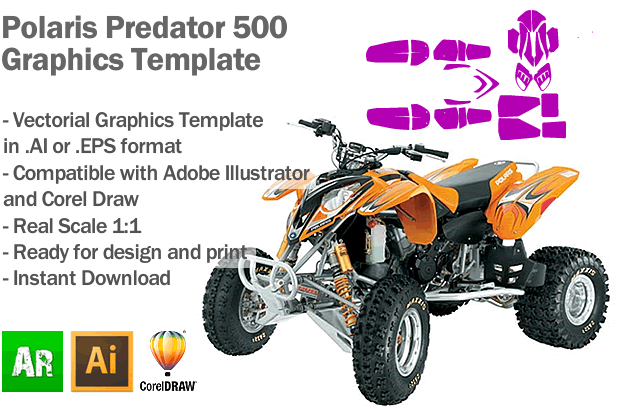 Polaris Predator 500 ATV Quad Graphics Template