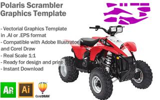 Polaris Scrambler ATV Quad Graphics Template