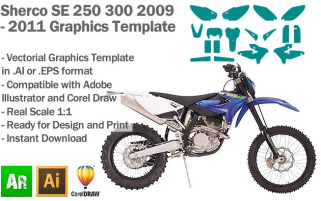 Sherco SE 250 300 Enduro 2009 2010 2011 Graphics Template