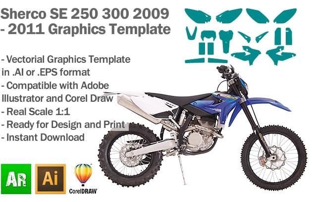 Sherco SE 250 300 Enduro 2009 2010 2011 Graphics Template