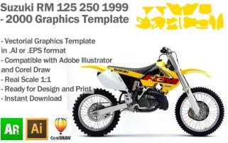 Suzuki RM 125 250 MX Motocross 1999 2000 Graphics Template