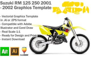 Suzuki RM 125 250 MX Motocross 2001 2002 Graphics Template