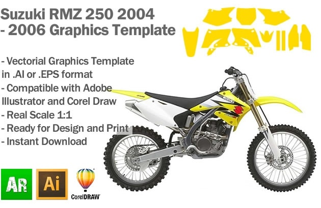 Suzuki RMZ 250 MX Motocross 2004 2005 2006 Graphics Template