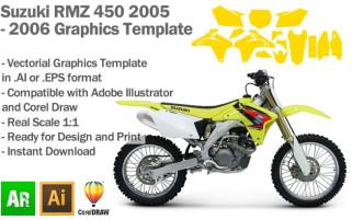 Suzuki RMZ 450 MX Motocross 2005 2006 Graphics Template