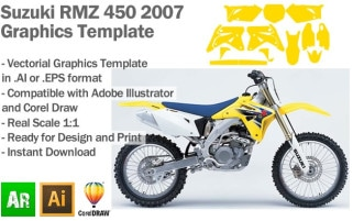 Suzuki RMZ 450 MX Motocross 2007 Graphics Template