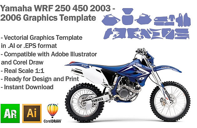 Yamaha WRF 250 450 Enduro 2003 2004 2005 2006 Graphics Template