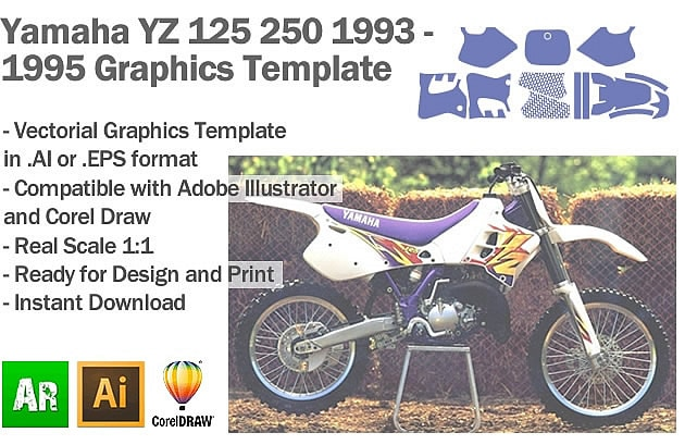 Yamaha YZ 125 250 MX Motocross 1993 1994 1995 Graphics Template