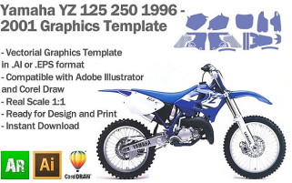 Yamaha YZ 125 250 MX Motocross 1996 1997 1998 1999 2000 2001 Graphics Template