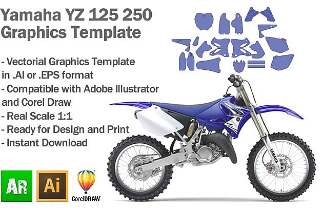 Yamaha YZ 125 250 MX Motocross 2002 2003 2004 2005 2006 2007 2008 2009 2010 2011 2012 2013 2014 Graphics Template