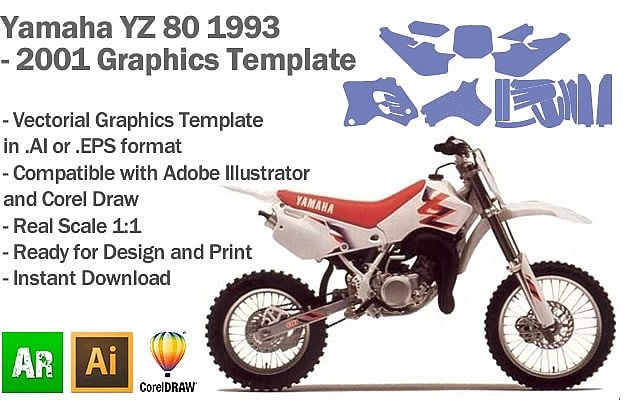 Yamaha YZ 80 MX Motocross 1993 1994 1995 1996 1997 1998 2000 2001 Graphics Template
